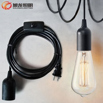 Lamp holder E27 Base Bulb Socket Pendant Light Fabric Cord