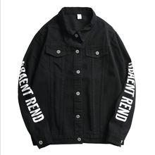 Autumn New <strong>Men's</strong> Printing Korean Black <strong>Jacket</strong> Trend Casual Oversized Denim Clothing Male