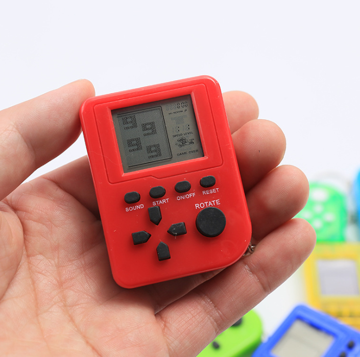 YLW Promotional Products Pocket Mini Tetris Game console Classic Kids Toys With keychain