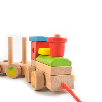 New product children educational toys gift wooden train stacking colorful wooden toys