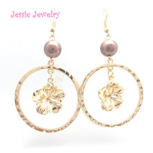 R239 hawaiian jewelry plumeria flower <strong>earrings</strong> gold
