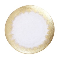 Stocked Set 4 Wedding Tableware Clear Glass Gold Rim Wedding Charger Plates Wholesale