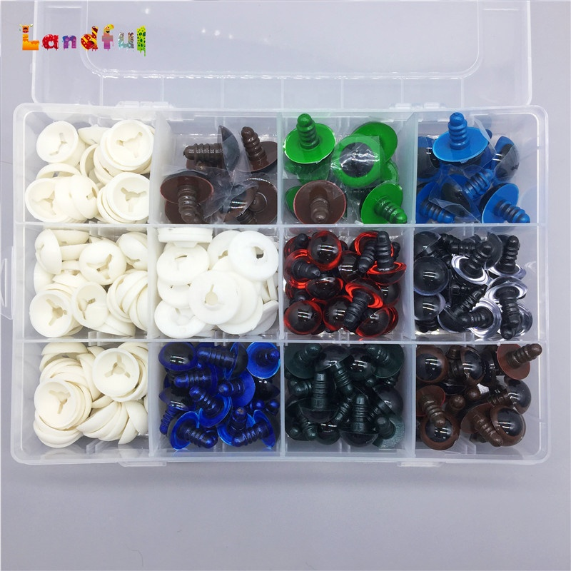 124pcs Plastic Safety <strong>Eyes</strong> with Hand Push Washers for Doll Making, DIY Craft Kit For Home Toys And Bear Making