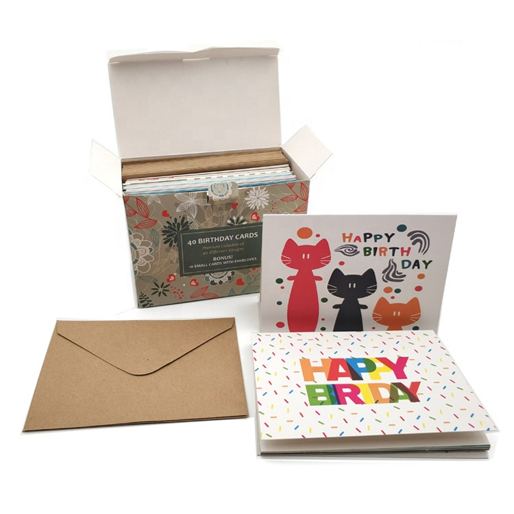 Custom Paper Happy Birthday Greeting Card and Envelope Sets