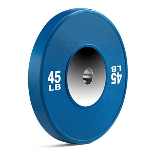 Good quality Competition Barbell set Colored solid rubber bumper weight lifting plates