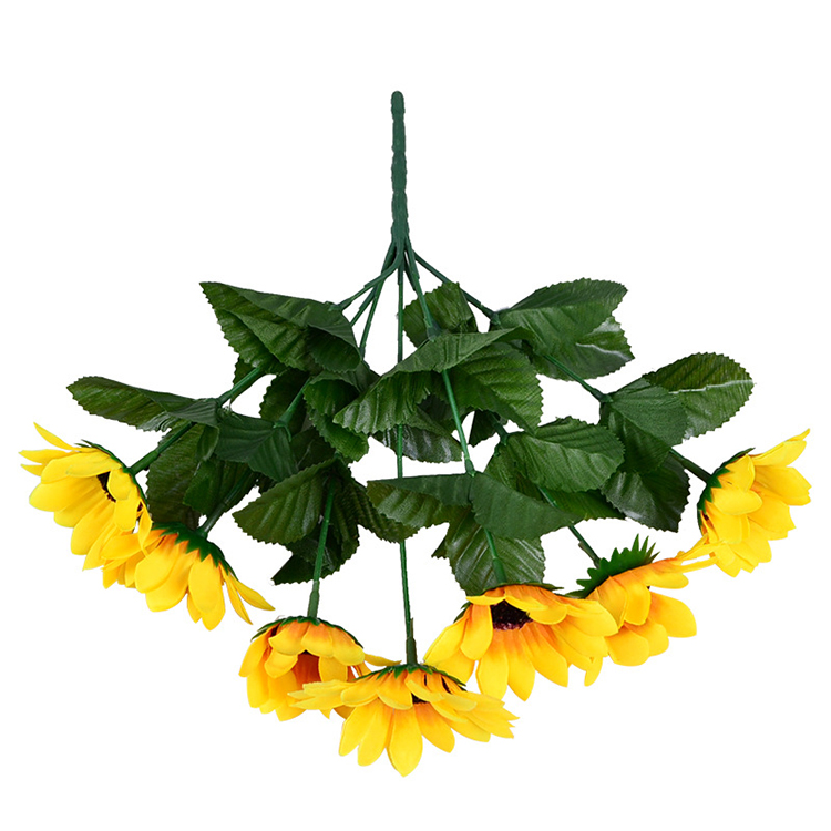 Yellow Sunflower Silk Artificial <strong>Flowers</strong> Bouquet For Home Decoration Office Party Garden Decor