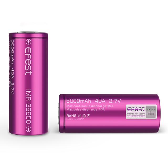 Enough stocks 5000mAh high discharge rate 40A 3.7v Efest 26650 li ion battery