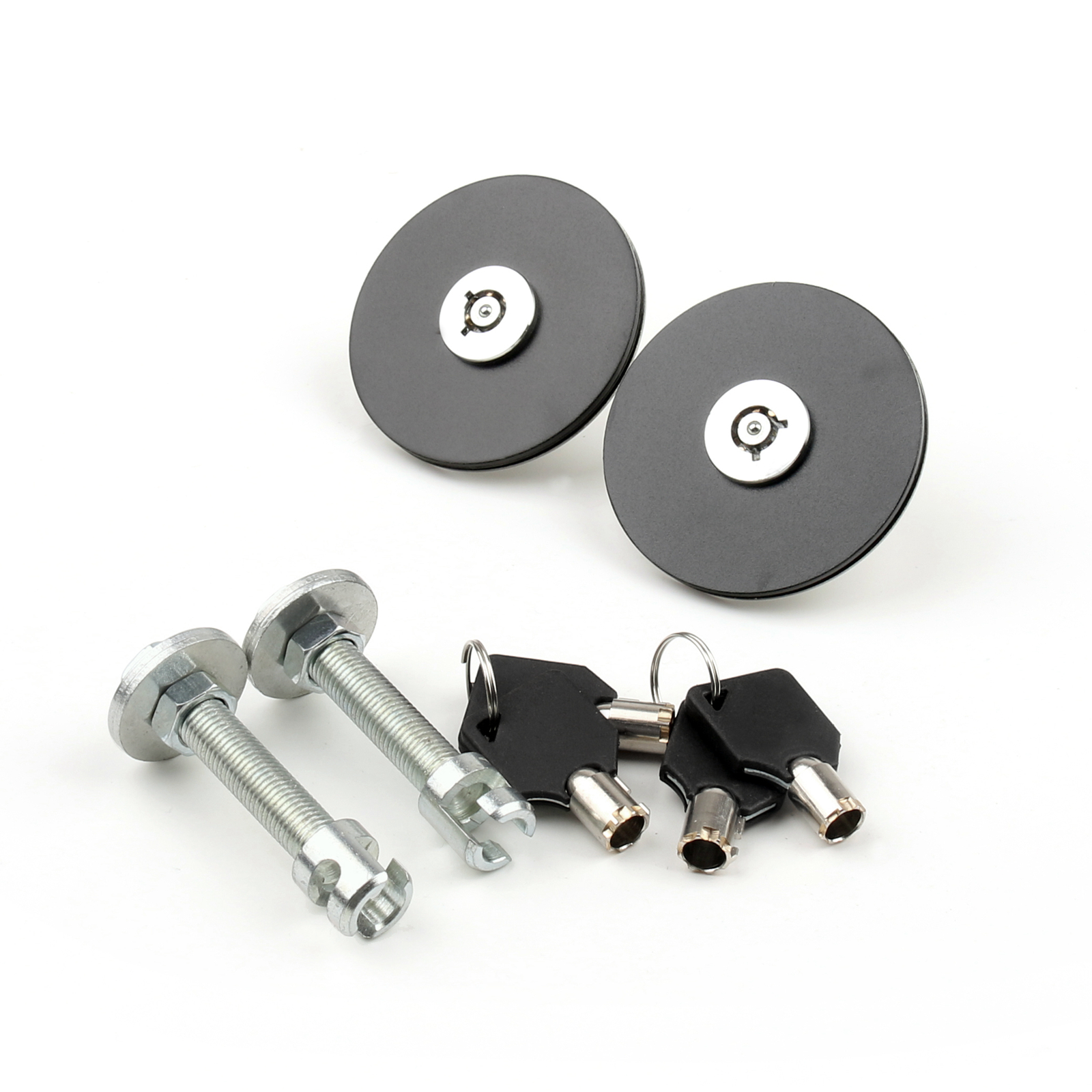 Areyourshop Universal Mount Bonnet Hood Lock Pins Kit <strong>W</strong> Keys For Del Sol Civic Aaaord Black