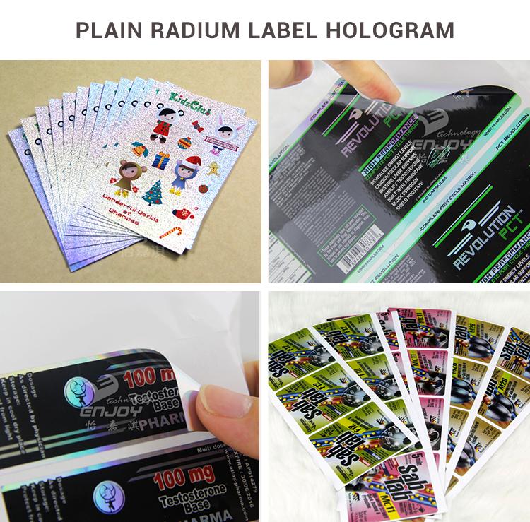 Holographic bottle label hologram packaging label