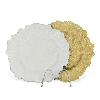 Wedding Party Decoration Dinner Table Setting Round Plates Gold Acrylic Plastic Reef Charger Plates