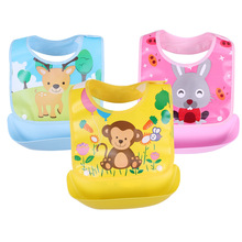 Children's cartoon stitching rice pocket waterproof and stain-proof saliva pocket removable and washable bib