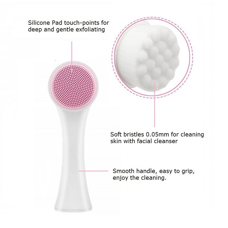 2 in 1 Portable Double Sides Stand-Up Silicone Facial Cleansing Brush Face Cleaning Brush