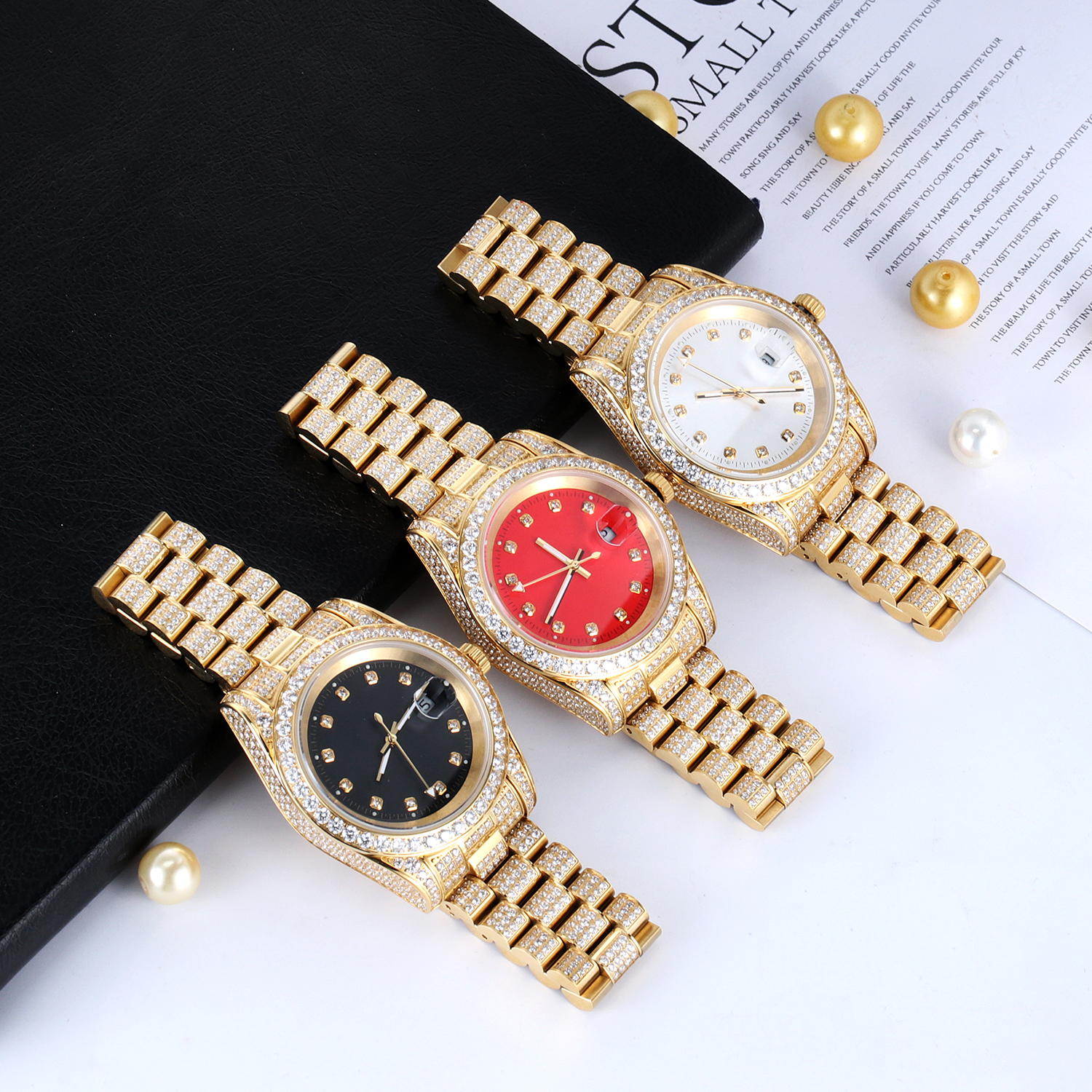 High Quality Fashion Gold Plated Wrist Luxury Mens Iced Out Custom Logo Rollex Watch For Men