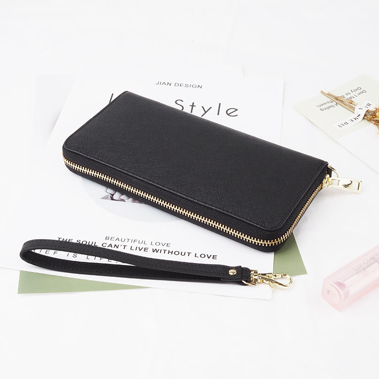 Fashion custom black long zipper purses saffiano genuine leather <strong>wallet</strong> women