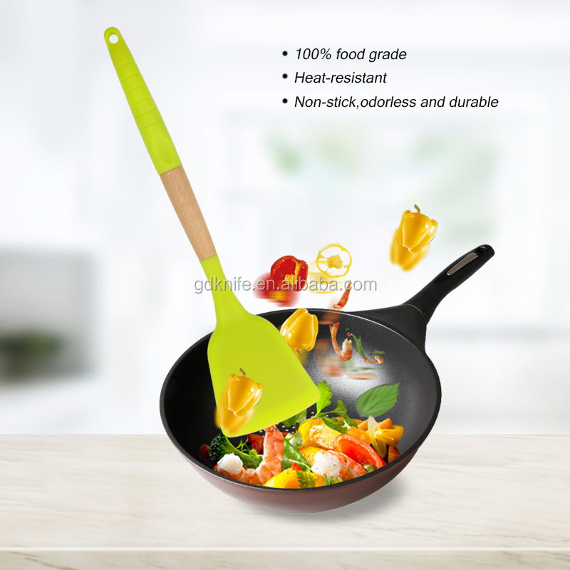 New design high quality 9pcs beech wood handle colorful silicone cooking kitchen utensil sets
