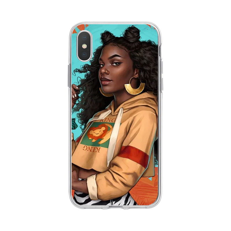 Colorful Africa girls pattern TPU  waterproof cell Phone Case Back cover for iPhone 6 XS MAX