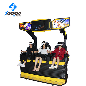 Newest Amusement Three seats 9D VR cinema with interactive shooting games