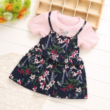 summer Children's clothing printed modern <strong>girl's</strong> modern round neck baby <strong>dress</strong>