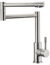 1 handle hole kitchen satin brushed nickel under sink deck mount hot and cold mixer water system folding pot filler faucet tap