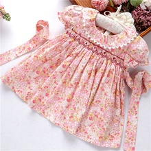 smocked <strong>dress</strong> baby clothes <strong>girl's</strong> <strong>dresses</strong> floral ruffles flower kids outfit cotton casual boutiques children clothes C91018534