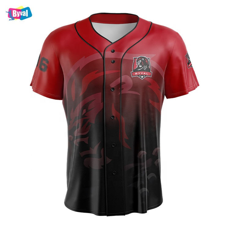 Byval Baseball Uniforms Custom Full Button Baseball Jersey Wholesale College Games Sublimation Printing Baseball Jerseys