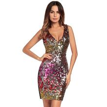 2020 New Women Elegant Sexy V-neck Sequin <strong>Dresses</strong> Woman <strong>Party</strong> <strong>Dress</strong>
