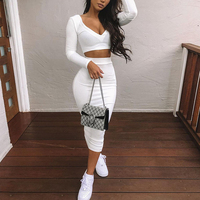New Arrival Stylish Long Sleeve Autumn Sexy Midi Dress Bodycon Two Piece Set Women Clothing