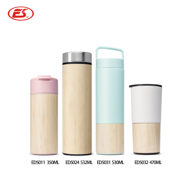 Custom company logo bamboo thermos BPA Free stainless steel bamboo tumbler flask insulated water <strong>bottle</strong> with tea strainer