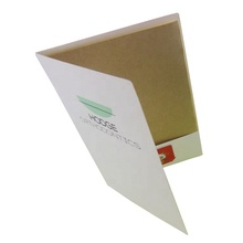 Promotional cute custom logo printing a4 kraft paper file folder with one pocket/card holder as office supplies for presentation