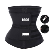 Women Slimming Tummy Control Adjustable Compression Double Belt Custom Logo Latex Waist Trainer Private Label