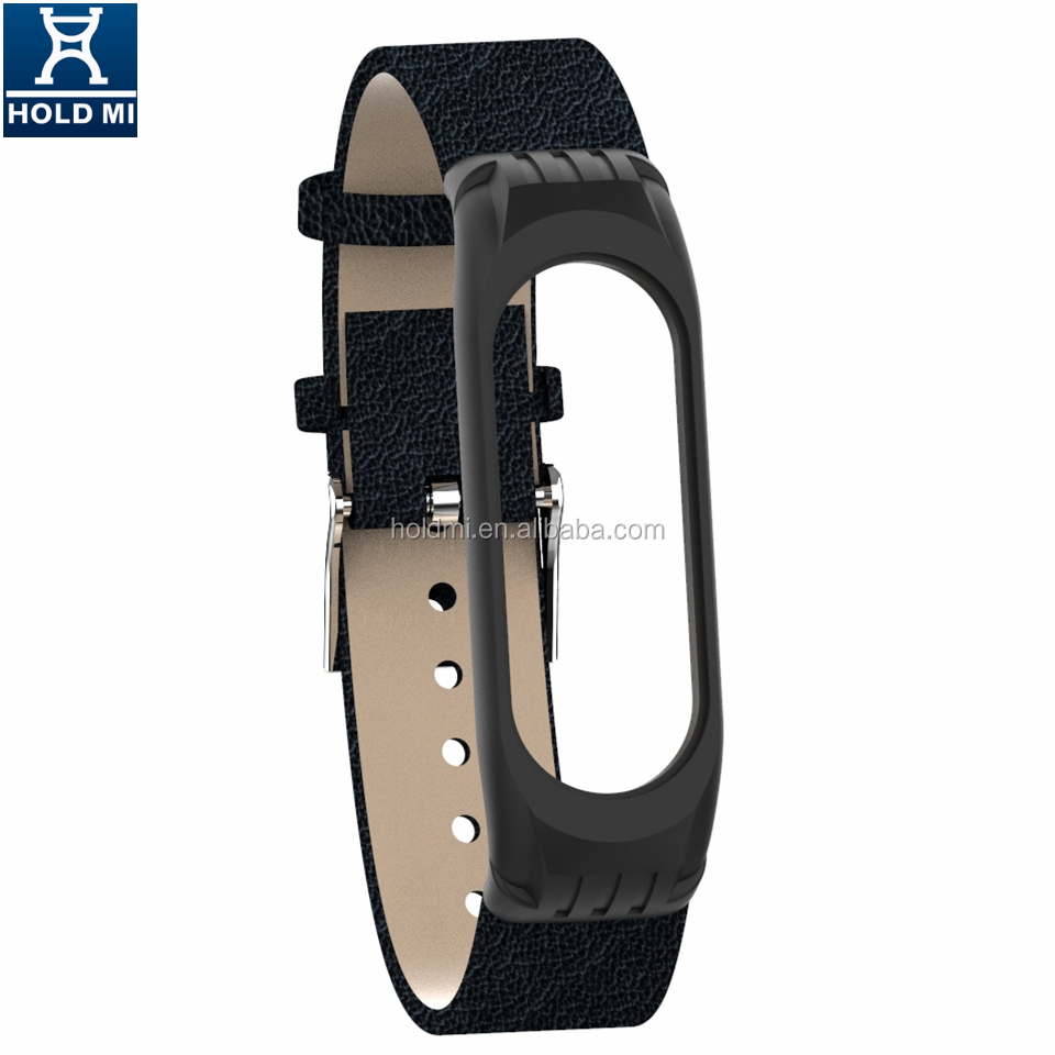 HOLDMI ODM 4313 Series Classic Black Color Leather Watch Band for Xiaomi Mi Band 4 and 3 Fashion