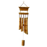 Feng Shui Bamboo Wind Chime with 8 Pipe Soothing Natural Unique Good Luck Decoration Outdoor Garden Patio Balcony Yard Home