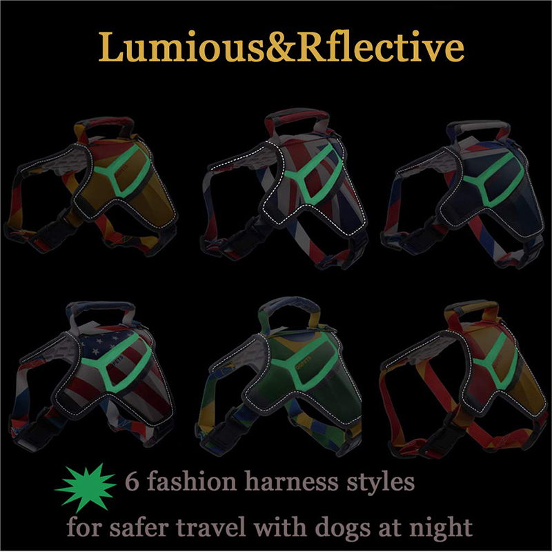 Amazon hot sale comfort massage safety reflective dog harness vest with USA flag