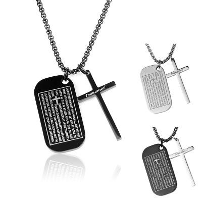 """Caliente Negro Acero Inoxidable Cruz Biblia Señor Oración Colgante Collar de hombre 22/"""""""