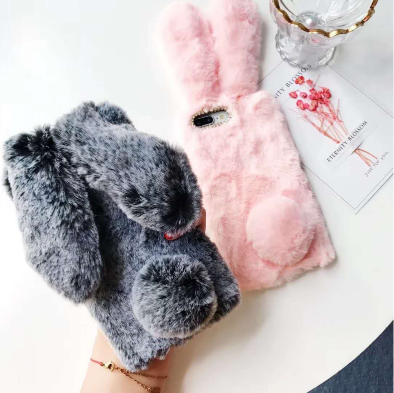 Fluffy Rabbit Fur Silicone Case For huawei P20 <strong>P</strong> Smart Diamond Plush Bunny Back Cover For iPhone 11