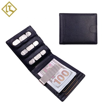 Customize Brand leather money clip wallet Coin pocket RFID card holder wallet