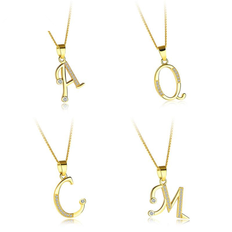 Hot Saling Fashion Jewelry Simple Design Stainless Steel Zircon 26 Initial Letter Pendant Chain Necklace For Women