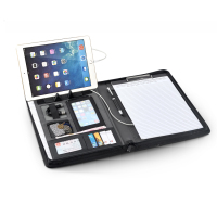 Business Office Conference Document Organizer A4 Black 5000mah PU Leather Power Bank Portfolio