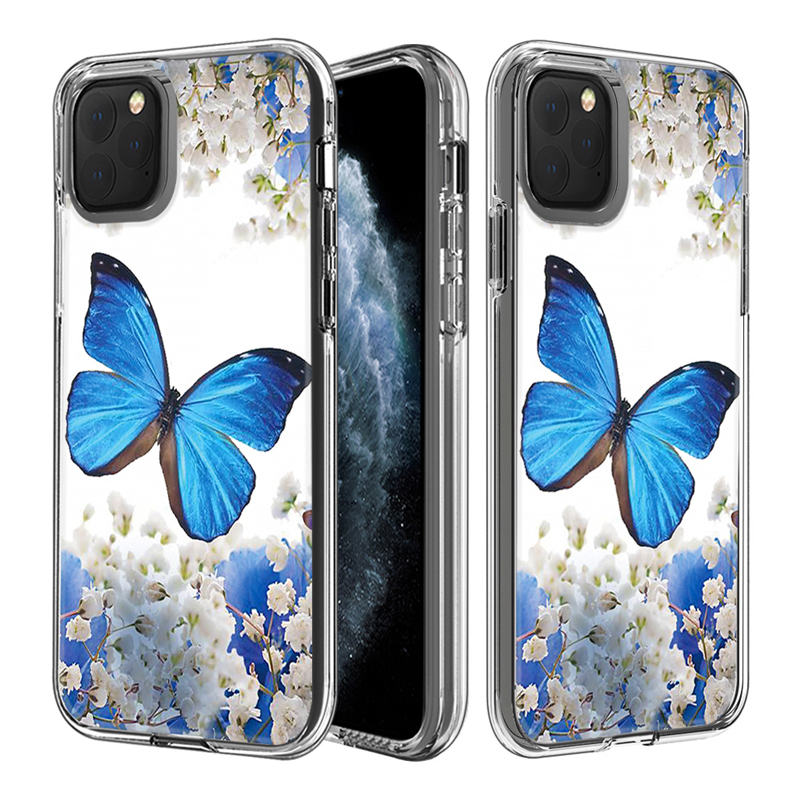 For iPhone 11 Pro Max Newest Soft TPU PC Dual Layer 2 in <strong>1</strong> Hard Back Beautiful Butterfly Flower Transparent Phone Case