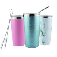 Amazon Hot Selling Double Walled Insulated Stainless Steel Coffee Tumbler With Straw, Christmas Gift Travel Coffee Mug Cups 20oz