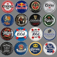Beer Bottle Cap Vintage Plaque Metal Tin Signs Craft Cafe Bar Pub Signboard Wall Decor Retro Nostalgia Round Plates Poster 35CM