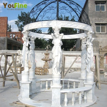 Western design marble round gazebo with figures from China
