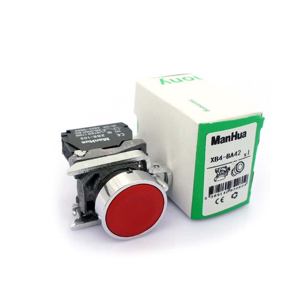 ManHua new style good quality XB4 series red color push button <strong>switch</strong> XB4-BA42