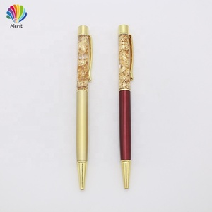Business Fashion Promotion Metal Gold Foil Glitter Liquid Floating Ball Pen In Bulk Price