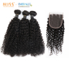 Bliss Mongolian Afro Kinky Curly Hair 3+1 Raw Indian Virgin Cuticle Aligned Hair Wet Curls Mongolian Hair with Closure