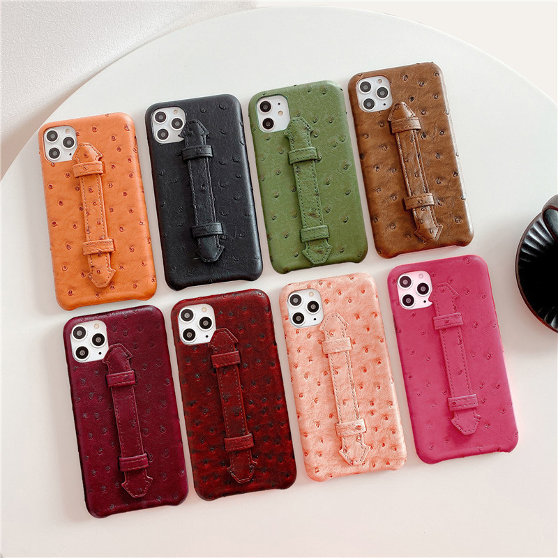 Luxury Ostrich Skin Leather Cell Phone Case For iPhone 11 11pro 11pro <strong>max</strong> Pretty Phone Cases