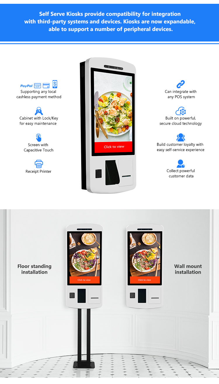32 Inch Capacitive Touch Screen Payment Machine Self Service Terminal Self Checkout Kiosk With Facial Recognition
