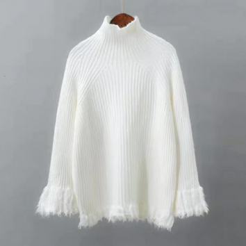 Thick High Collar Loose Solid Color Fringe Sweater
