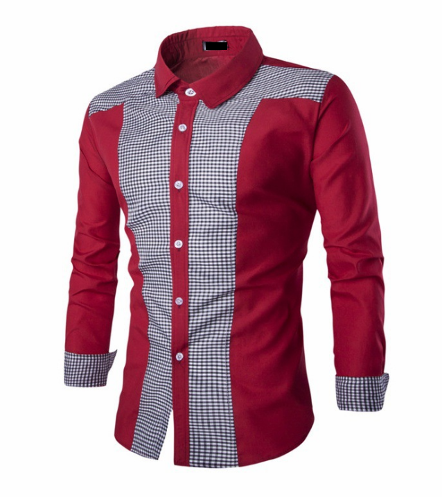 Popular Good Quality Patchwork Plaid 100% Organic Cotton Long Sleeves Slim Fit Shirts for Men