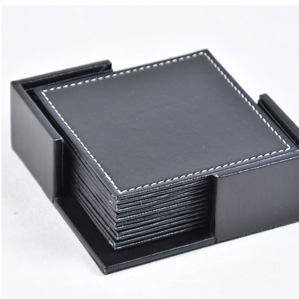 Household black leather square beer cup coaster